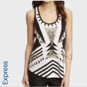 Express sequin tribal lace back tank top
